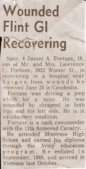James A. Fortune SP/4 - Injured on 25 June 1970 Cambodia