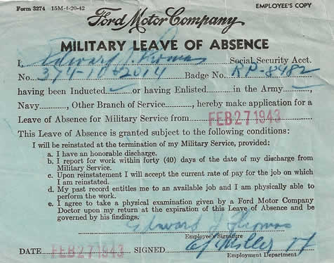 Ford Motor Company Military Leave of Absence World War II